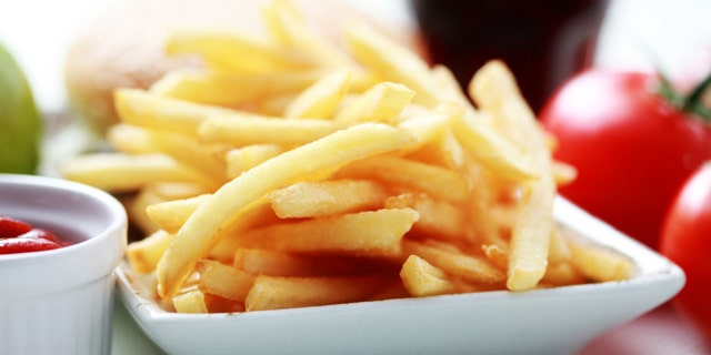 french fries and some burger - food and drink