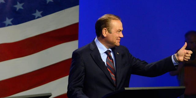 Oct. 23, 2014: Democratic candidate Rick Weiland gives a thumbs up before a televised U.S. Senate candidate debate.