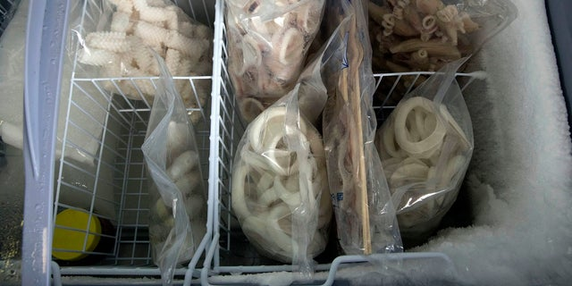 Frozen squid products at the Yanbian Shenghai Industry and Trade Co. which hires some North Korean workers in the city of Hunchujn.