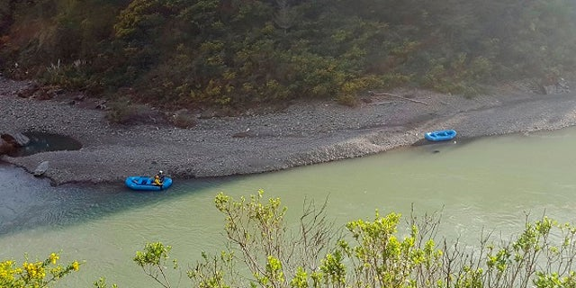 The Mendocino County Sheriff's Office shows a search underway along the Eel River in Northern California.