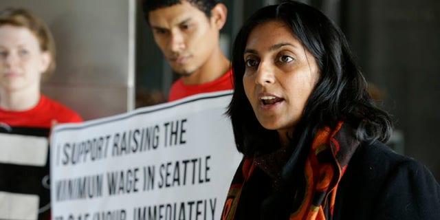 Kshama Sawant speaks in Seattle, Nov. 4, 2013. (Associated Press)