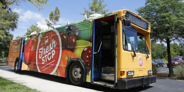 The Fresh Stop, a mobile market stops at the Taft Community Center in Orlando.