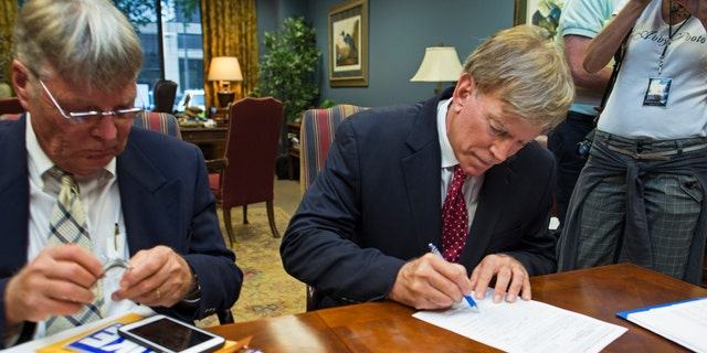 July 22, 2016: Former Ku Klux Klan leader David Duke registers his candidacy for the November 8 ballot as a Republican at the Louisiana Secretary of State's office in Baton Rouge, La.