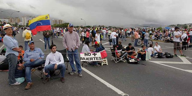 "A group of protesters participate in a ""Big National Sit-in,"" called by the opposition in Caracas, Venezuela, May 15, 2017."