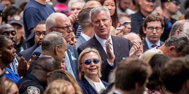 Democratic presidential candidate Hillary Clinton attends the 2016 ceremony at the Sept. 11 memorial in New York.