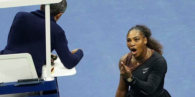 Serena Williams arguing with chair umpire Carlos Ramos during the Sept. 8 final match.