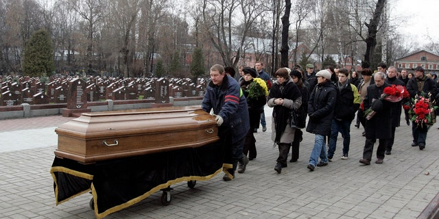 Sergei Magnitsky, shown during his funeral, died at the age of 37 after being beaten in a Russian jail in 2009 —while investigating what happened to $230 million Browder claims he paid to the Russian government in tax, but that was stolen by corrupt officials in an elaborate scheme. The Magnitsky Act sanctions those who the U.S. Congress deems are in some way responsible for Magnitsky's death and the fraud.