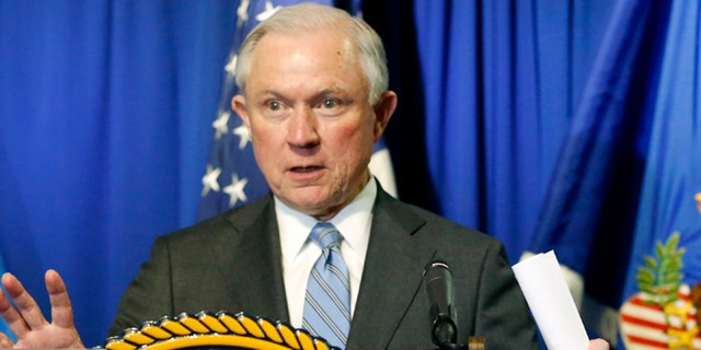 Attorney General Sessions speaks after he and Homeland Security Secretary John Kelly toured the ports of entry and met with Department of Justice and DHS personnel in El Paso, Texas, Thursday, April 20, 2017. (Ruben R. Ramirez/The El Paso Times via AP)