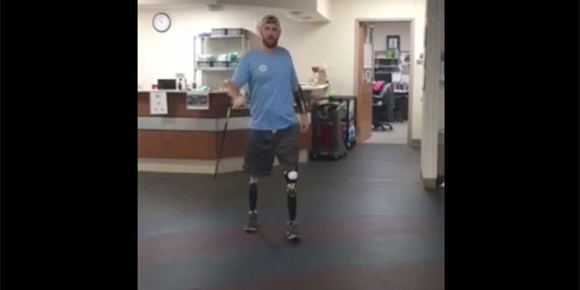 Sgt. Adam Keys walks using his sidekicks.