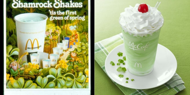 The Shamrock Shake then and now.
