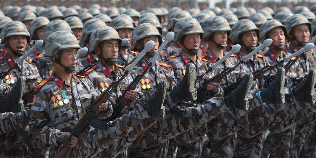 Possible anomalies were also noted in the rifles toted by Kim Jong Un's fighting forces.