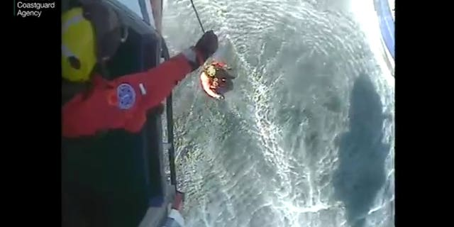 A winchman was lowered to the boat to retrieve the injured angler from the 75-foot vessel.