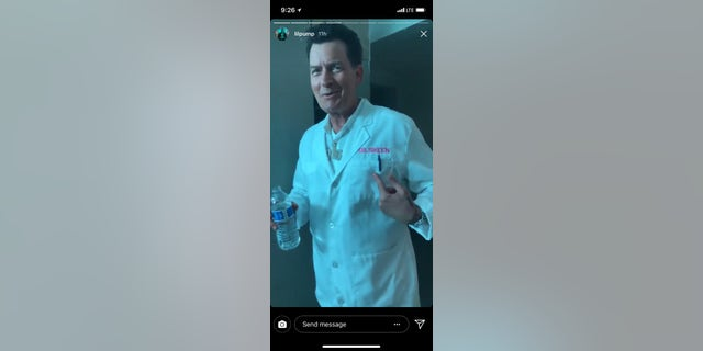 Charlie Sheen on the set of rapper Lil Pump's upcoming music video.