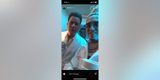 Lil Pump, right, recruited Charlie Sheen, left, to star in his upcoming music video.