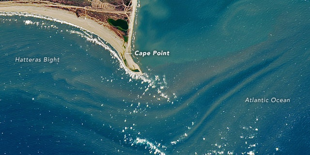 Shelly Island is no longer an island, according to a NASA satellite image from February 16.