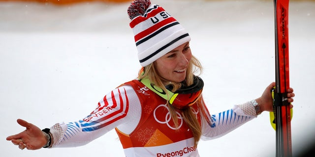Mikaela Shiffrin reacts after winning silver in the women's combined at the 2018 Winter Olympics in Jeongseon, South Korea, Thursday, Feb. 22, 2018.