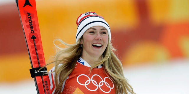 The United States' Mikaela Shiffrin smiles after competing in the women's combined slalom at the 2018 Winter Olympics.