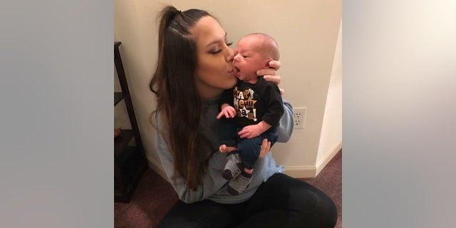"""23-year old mother Allyson Opfer told SWNS about meeting Oliver for the first time, """"When I saw him and heard him cry, it was incredible."""""""