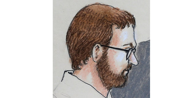 In this Monday, April 27, 2015 sketch by courtroom artist Jeff Kandyba, Aurora theater shooting defendant James Holmes is depicted as he sits in court at the Arapahoe County Justice Center on the first day of the Holmes trial, in Centennial, Colo. As the trial begins, the question isn't whether Holmes killed 12 people and wounded 70, but whether he was sane at the time of the killings. (AP Photo/Jeff Kandyba)
