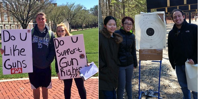At left, University of Delaware students Tyler Wittlinger and Zoe Callaway recruit classmates to the Students for the Second Amendment Club. At right, two unidentified University of Delaware exchange students stand with a shooting instructor. (Courtesy Zoe Callaway)