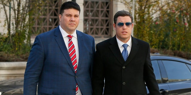 Former Republican state Sen. Ralph Shortey, left, seen here with his attorney, Ed Blau, right, arriving at the federal courthouse on Thursday, November 30, 2017.