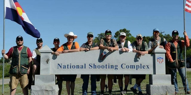 Members of the Colorado State University Shotgun Sports Club at the National Shooting Complex in San Antonio, Texas.