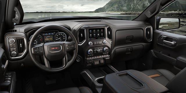 The AT4 interior echos the exterior's dark-tinted look.