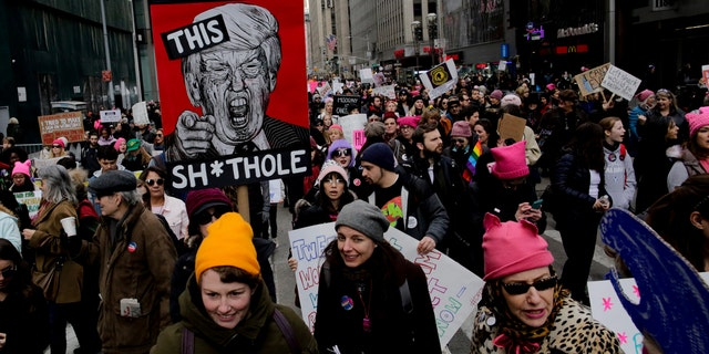 People take part in the Women's March in New York City on Jan. 20, 2018.