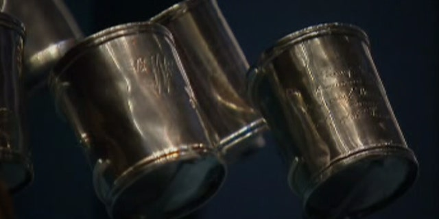 Silver camp cups that belonged to George Washington and were part of his camp equipment during the Revolution.