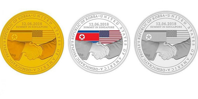 The design for the three medallions unveiled by Singapore Mint commemorating U.S. President Donald Trump and North Korean leader Kim Jong Un's meeting in Singapore.