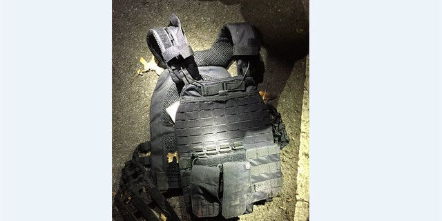 A ballistic vest recovered at the scene.