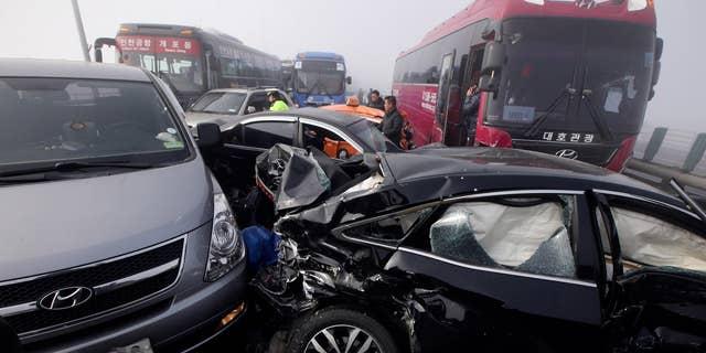 Feb. 11, 2015: Damaged vehicles sit on Yeongjong Bridge in Incheon, South Korea.