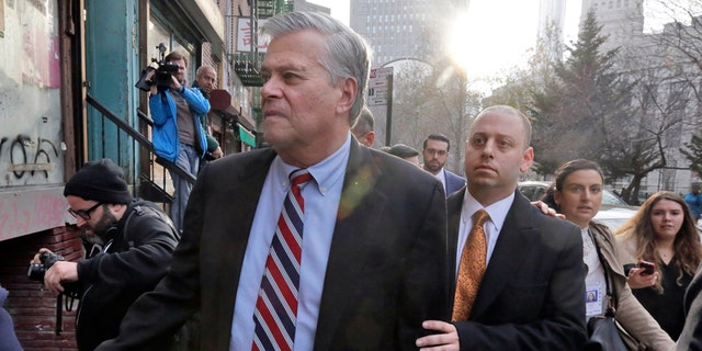 Dean Skelos, left, and his son Adam Skelos leaving federal court in New York in 2015.