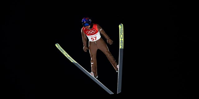 A ski jumper competes in a qualifying round at the Pyeongchang 2018 Winter Olympics. A veteran ski jumper who spoke with Fox News said the athletes' suits can make or break — or even disqualify — a jump.