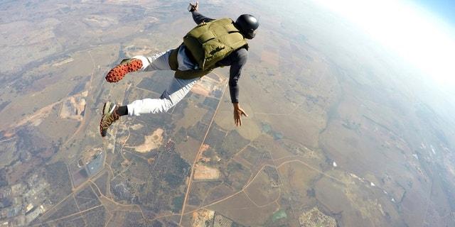 Skydiver flies through the air
