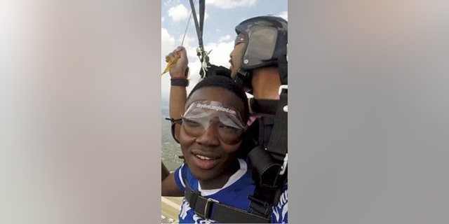 Police are looking for the duo who they said stole a credit card to go skydiving.
