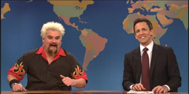 """Bobby Moynihan as Guy Fieri on the SNL skit that never made it to air. Weekend Update host Seth Meyers gives the review to read, which makes the """"Diners, Drive-In and Dives"""" host impersonator feel """"pretty half throttle."""""""