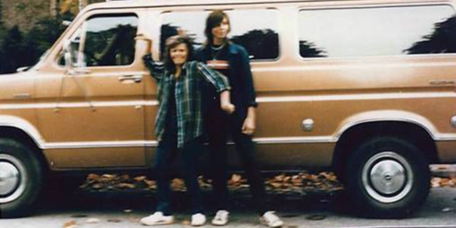 Tanya Van Cuylenborg and Jay Cook with the van they drove to Seattle from British Columbia, a bronze 1977 Ford Club wagon.
