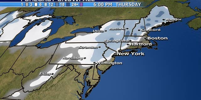 A nor'easter may bring upwards of a foot of snow across the Northeast by Thursday.