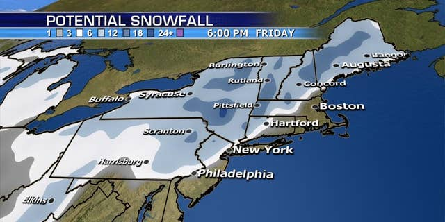 The snowfall forecast from a nor'easter that's expected to impact the Northeast on Wednesday.