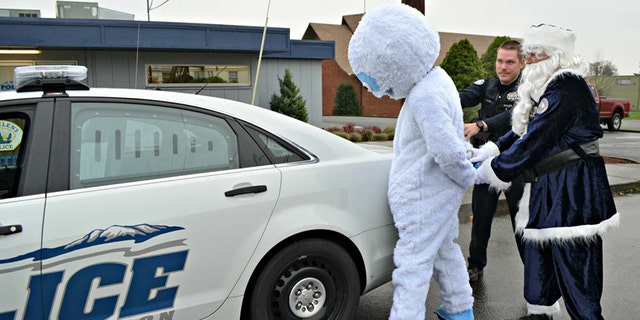 """Abominable T. Snowman was """"arrested"""" Monday as part of an anti-drunk driving campaign in Oregon."""