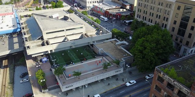 A Fox News drone pilot captures an aerial view of the Five Points MARTA Station in Downtown Atlanta.