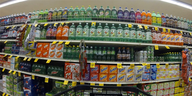 Varieties of soda for sale at a store in California.
