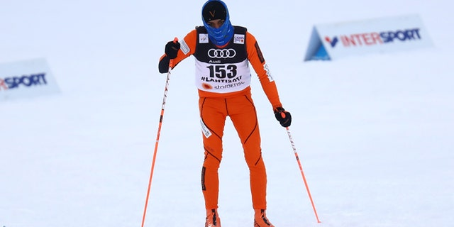 Venezuela's Adrian Solano competing in the cross-country race of the FIS Nordic Ski World Championships in Finland.