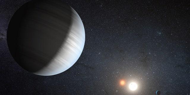 """Ilustração de um artista do sistema solar alienígena Kepler-47, um sistema de estrelas gêmeas que abriga dois planetas.  Os planetas têm dois sóis, como o planeta fictício Tatooine, no universo """"Guerra nas Estrelas""""."""