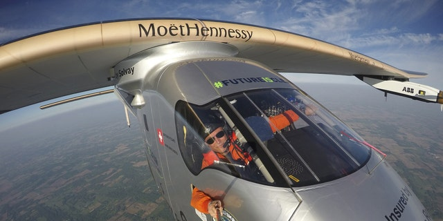 """File photo - Bertrand Piccard takes a selfie on board the """"Solar Impulse 2"""" during his flight from Dayton, Ohio to Lehigh Valley International Airport in Allentown, Pa., where he landed, Wednesday, May 25 2016. (Bertrand Piccard/Solar Impulse via AP)"""