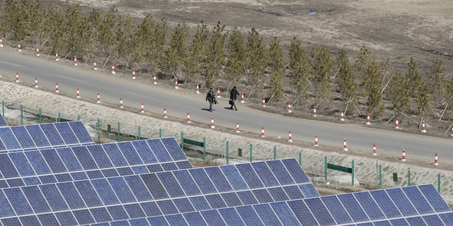 File photo - People walk past the solar panels at a wind and solar energy storage and transmission power station of State Grid Corporation of China, in Zhangjiakou of Hebei province, China, March 18, 2016. (REUTERS/Jason Lee)