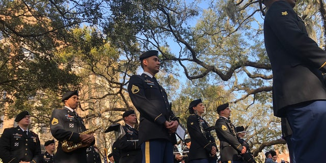 Soldiers march to Madison Square as part of the commemorative ceremony for Sgt. William Jasper on the eve of St. Patrick's Day.
