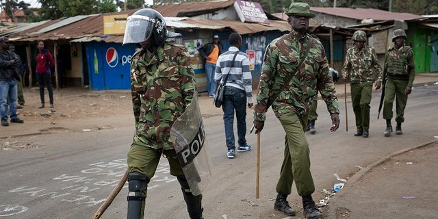 Kenyan security forces patrolled the Kibera area of Nairobi, Kenya, Saturday, Aug. 12, 2017.