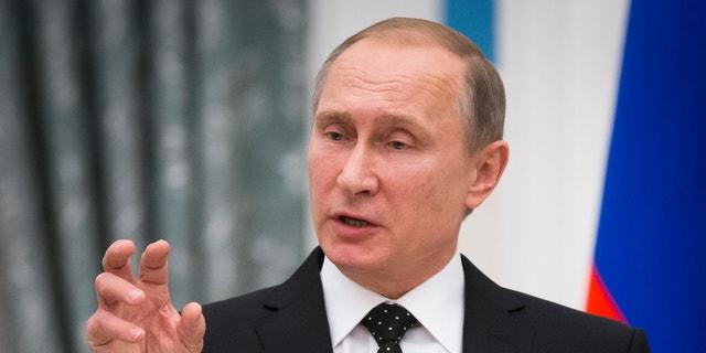 Nov. 2015: Russian President Vladimir Putin at a press conference.